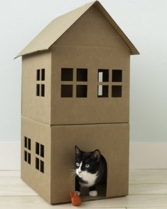 Cat Playhouse from Moving Boxes